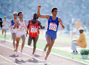 1984 Olympic Games. Los Angeles. Men's 800 Metres Final. Brazil's Joaquim Cruz crosses the line to win the gold medal followed by Great Britain's Sebastian Coe for silver.